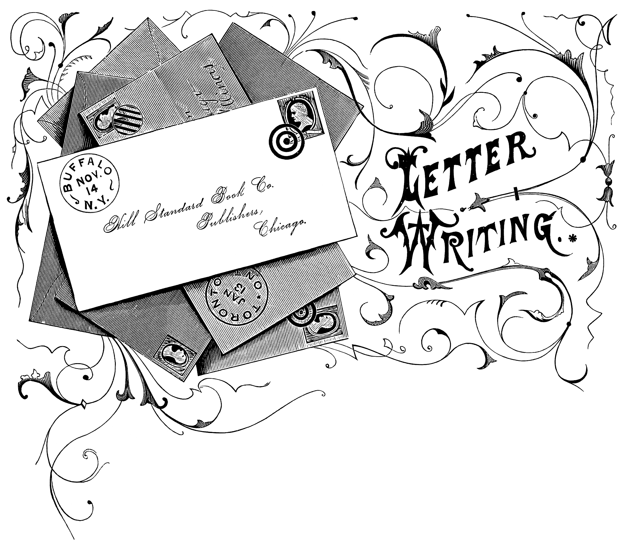 envelopes letters vintage clip art