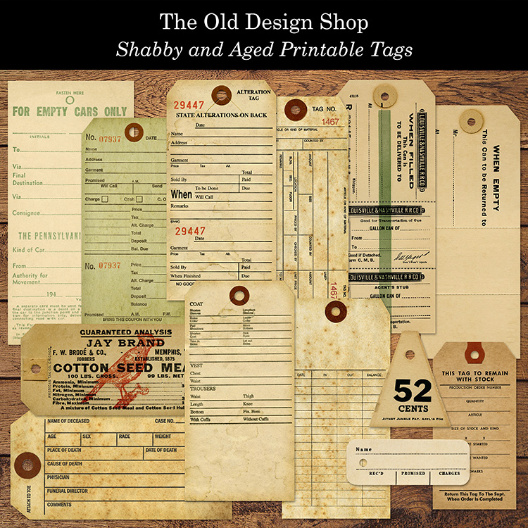 shabby and aged printable tags