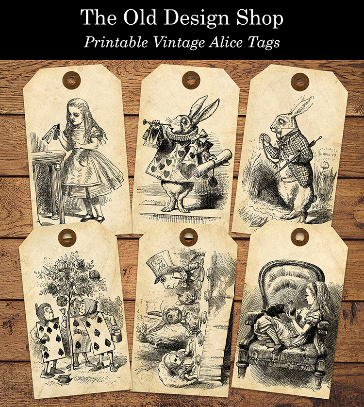 alice in wonderland printable tags old design shop