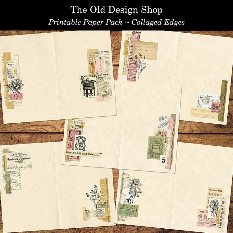 printable collaged journal pages