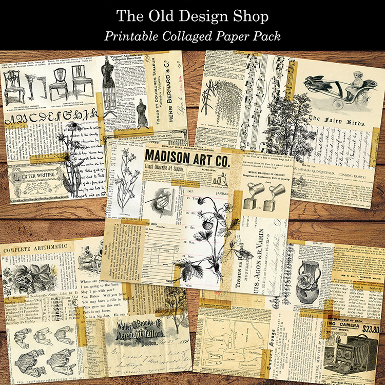 printable collage paper pack old design shop