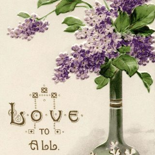 vase of purple lilacs vintage love postcard