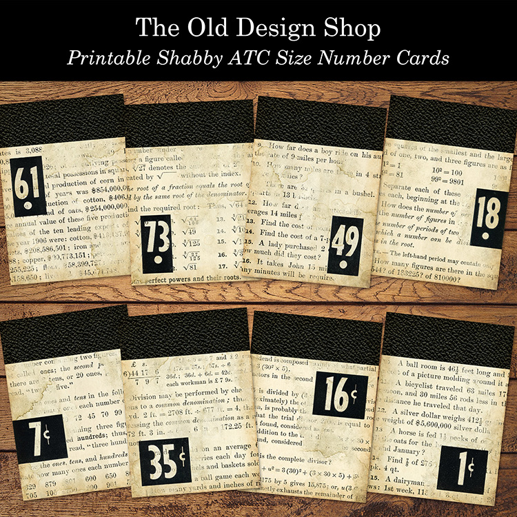 printable shabby number cards