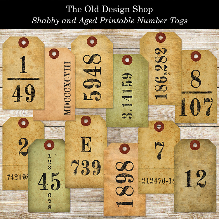 number tags shabby aged printable old design shop