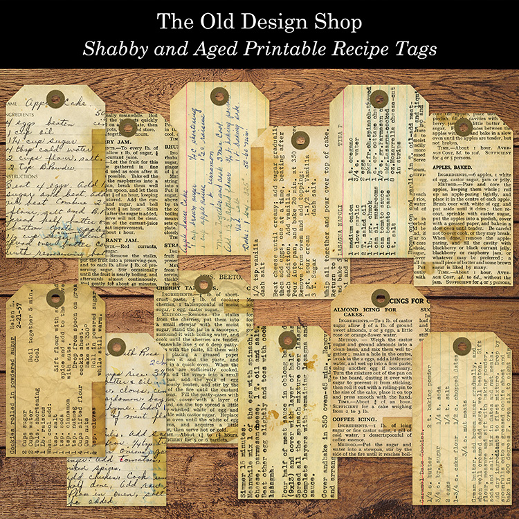 printable tags vintage style recipes