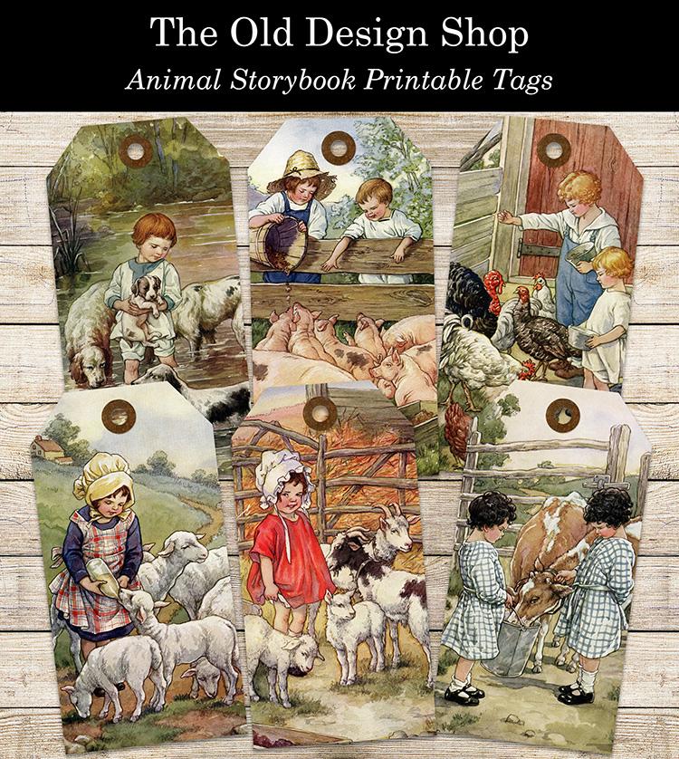 printable farm animal storybook tags