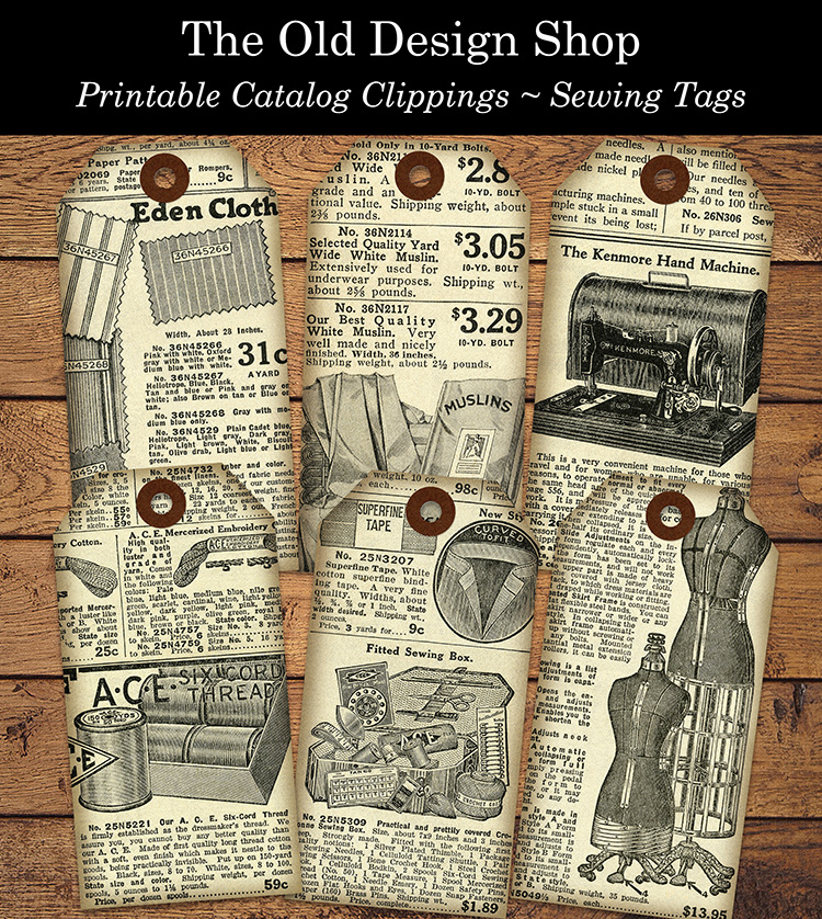 printable sewing tags catalog clippings
