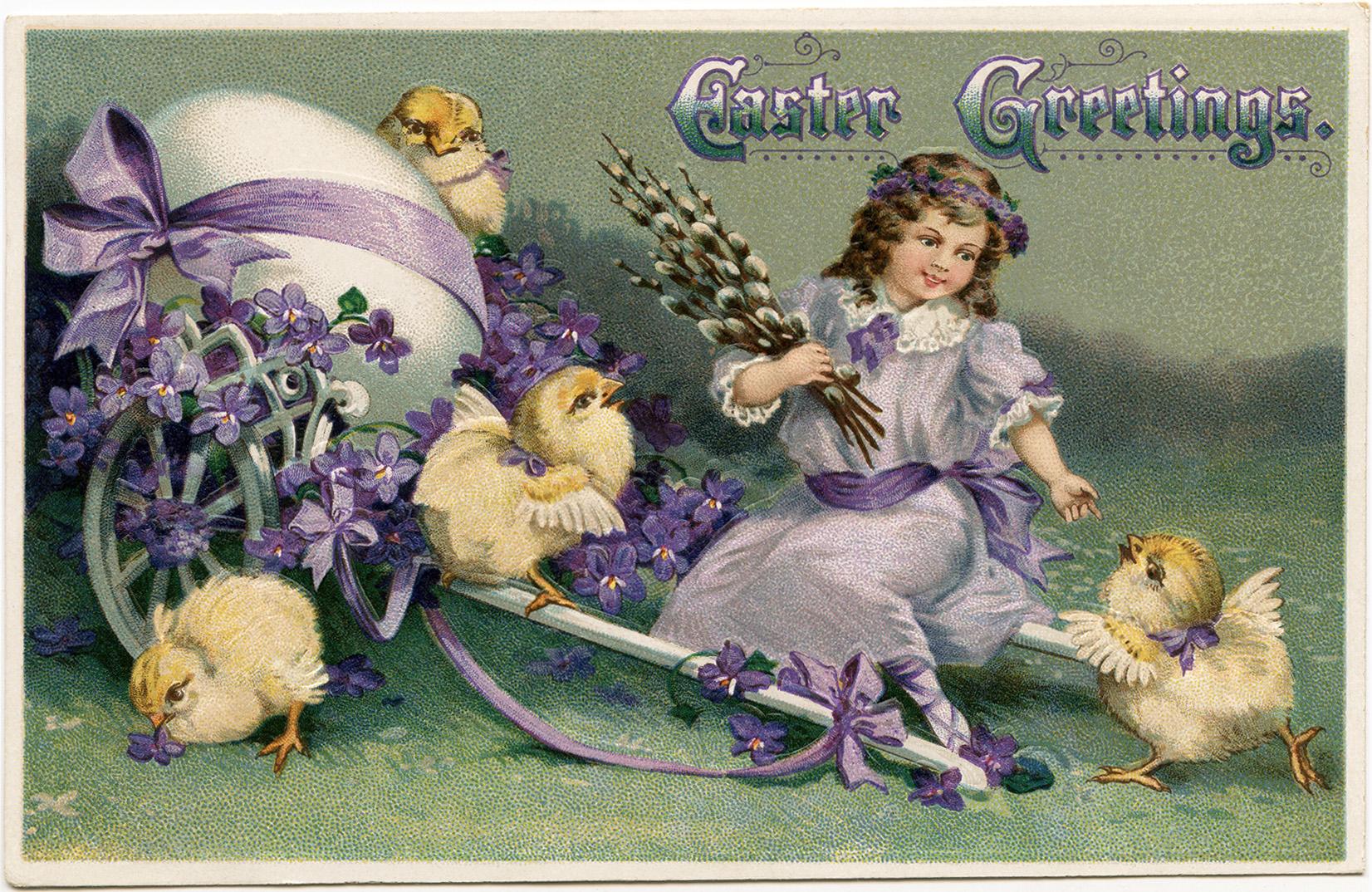 easter greetings printable postcard