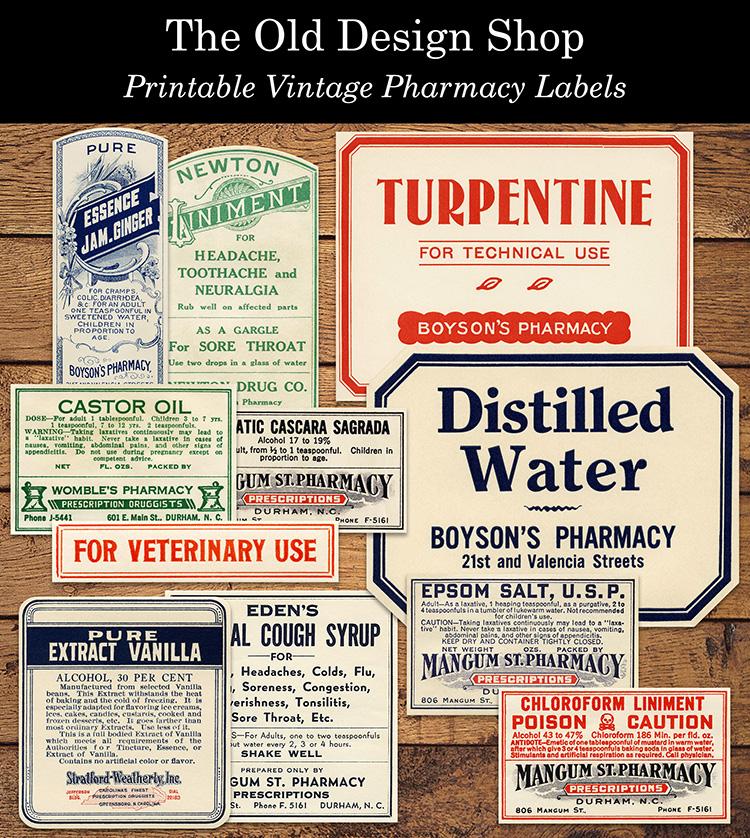 printable vintage pharmacy labels