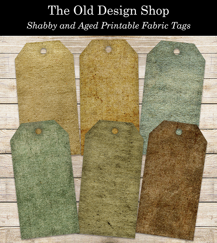 shabby and aged printable fabric tags