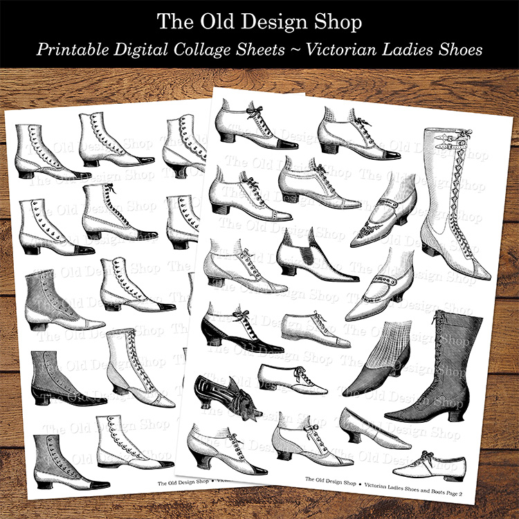 printable Victorian ladies shoes black and white