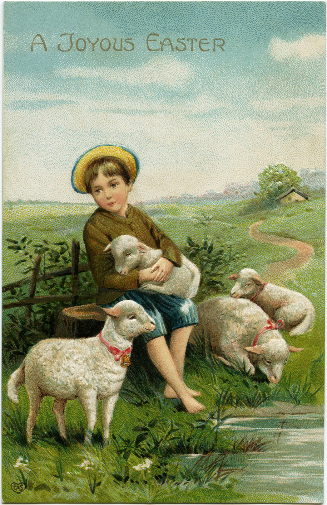 printable easter postcards boy and lambs
