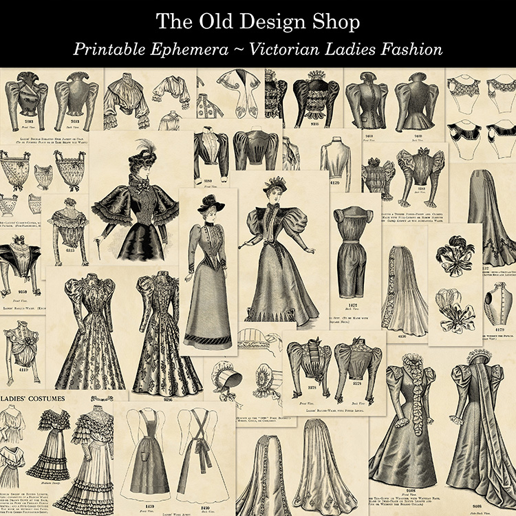 printable ephemera Victorian ladies fashion