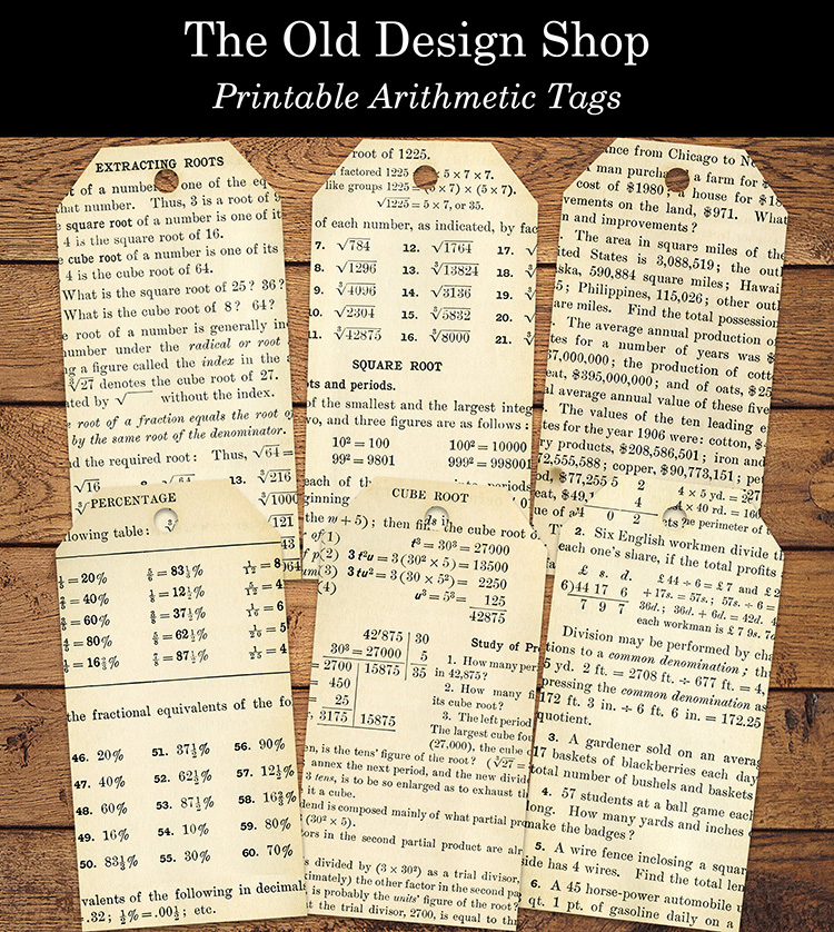printable arithmetic tags