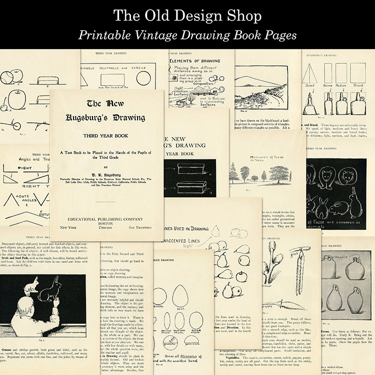 printable vintage drawing book pages