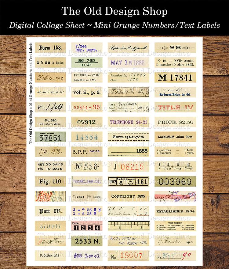 printable mini grunge number labels