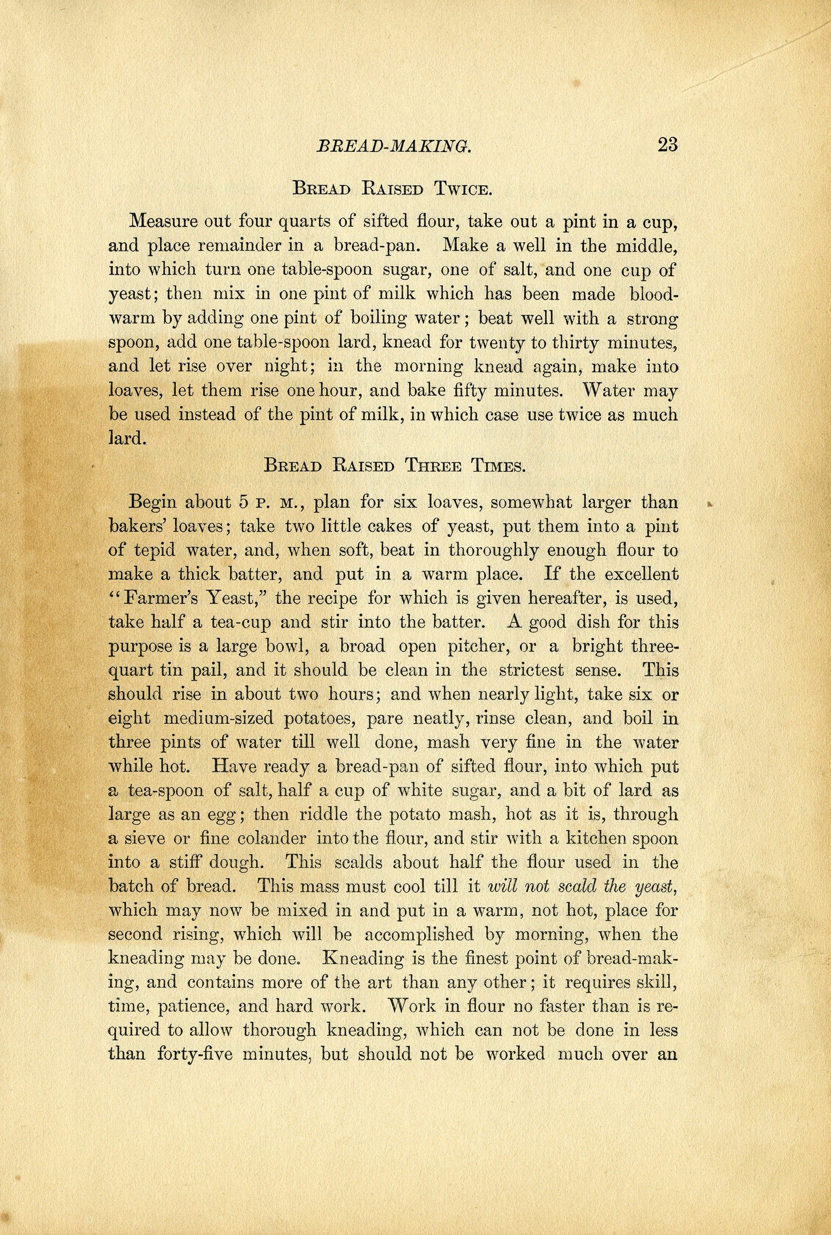 old-fashioned bread recipes cookbook page