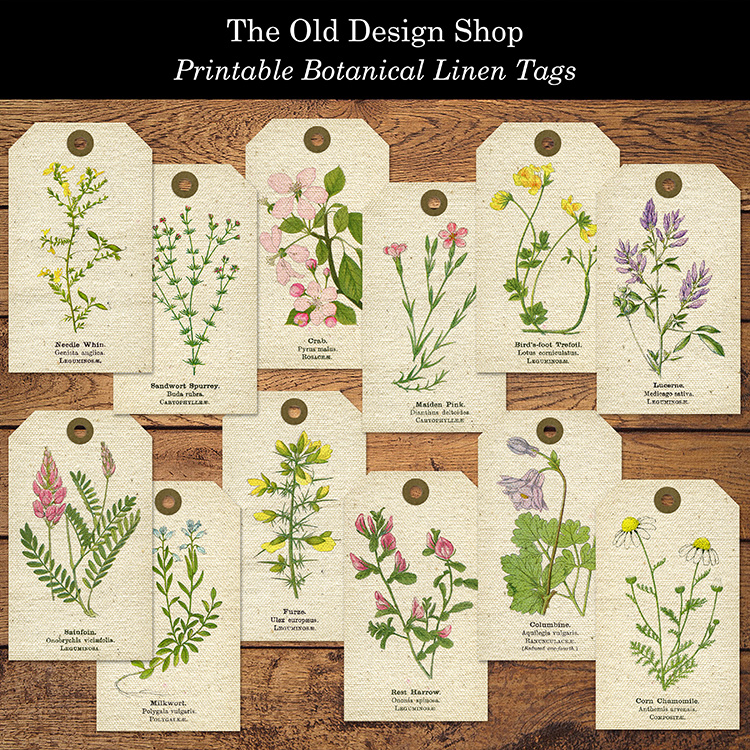 botanical linen tags