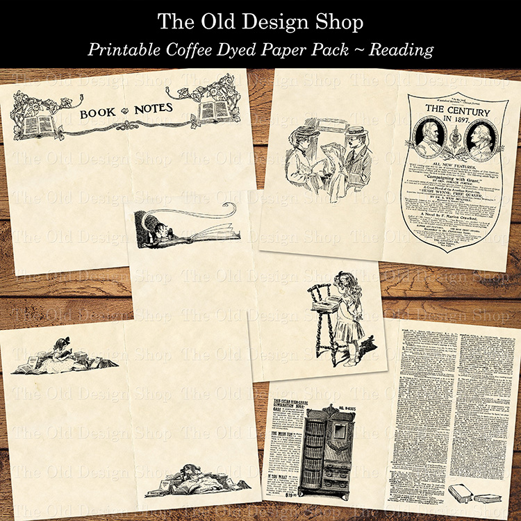 printable vintage reading paper pack