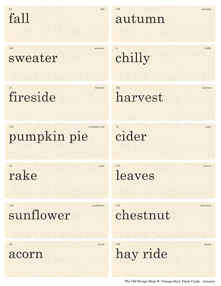 vintage style flashcards autumn