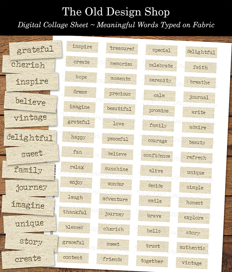 meaningful words typed on fabric printable