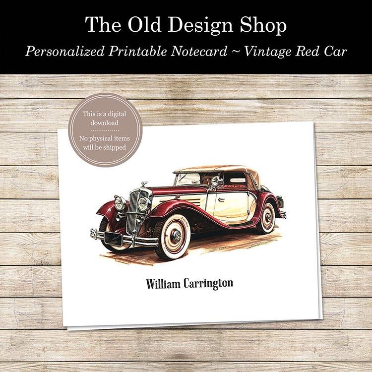 personalized printable car notecard stationery