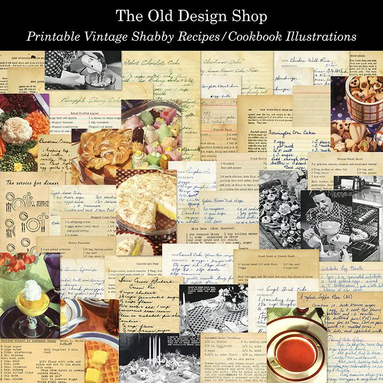 printable vintage recipes cookbook illustrations