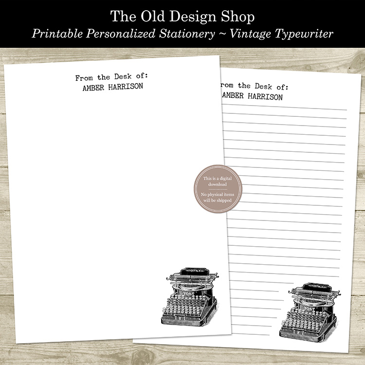 printable typewriter letter writing personalized stationery