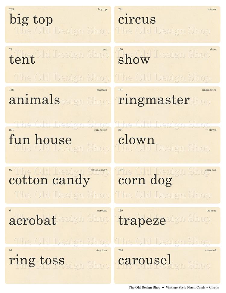printable circus theme flashcards