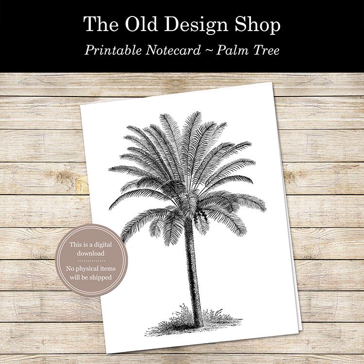 printable palm tree notecard