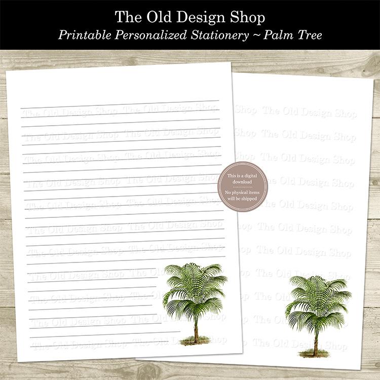 printable palm tree stationery