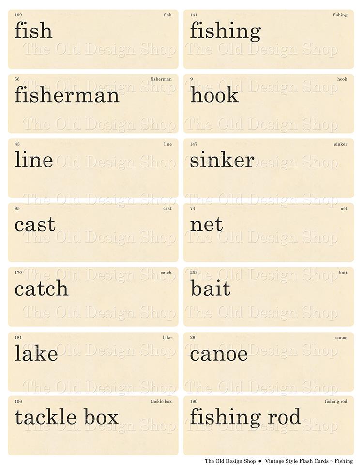 printable fishing flashcards