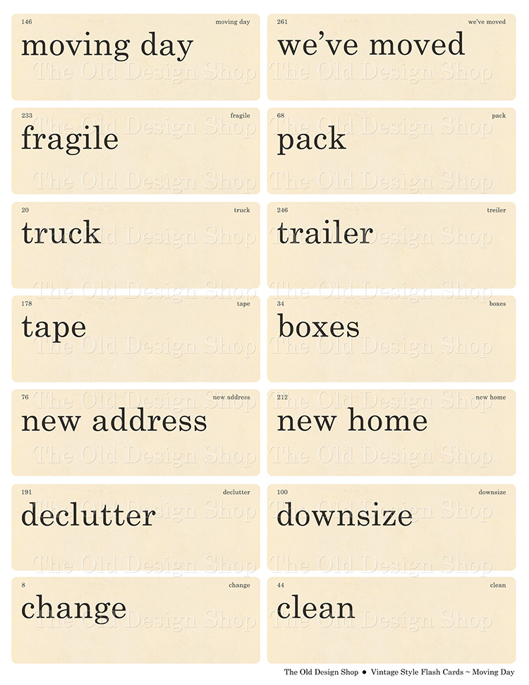 printable move moving flashcards