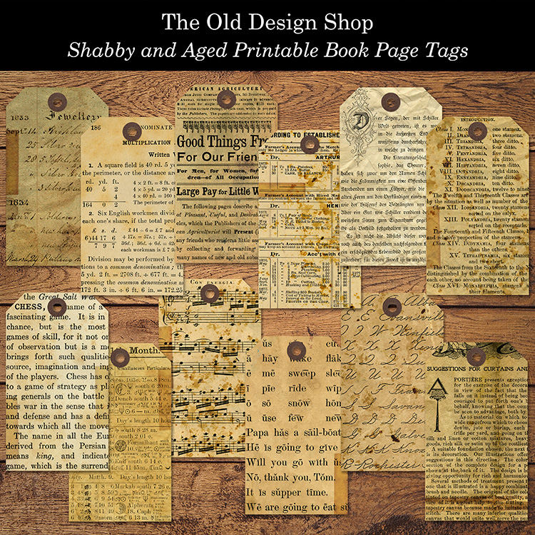 shabby and aged printable book page tags
