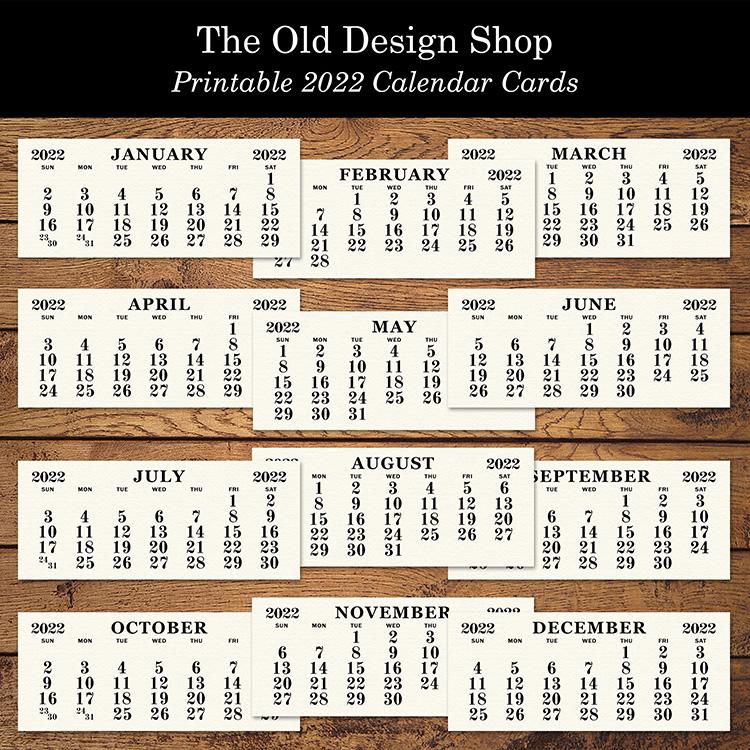 vintage printable ephemera calendar 2022