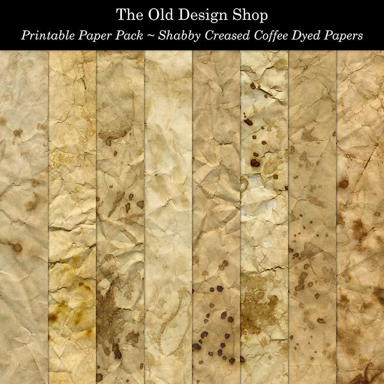 printable shabby creased coffee dyed paper pack